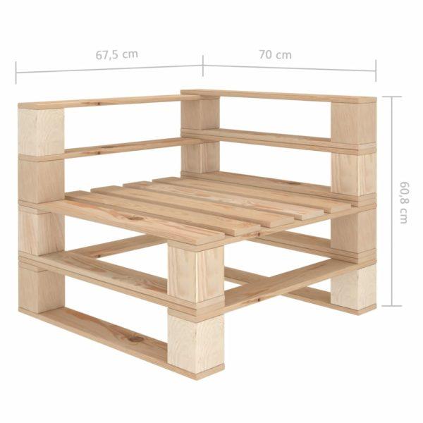 Garten-Palettensofa 3-Sitzer mit schwarzen Kissen Holz