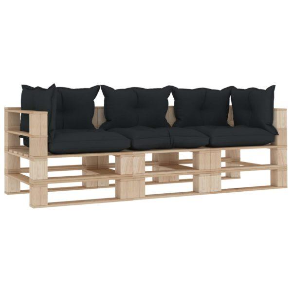 Garten-Palettensofa 3-Sitzer mit Anthrazit-Kissen Holz
