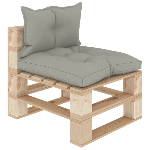 Garten-Paletten-Mittelsofa mit Taupe-Kissen Holz