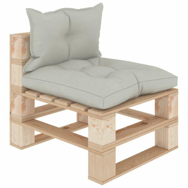 Garten-Paletten-Mittelsofa mit Beigen Kissen Holz