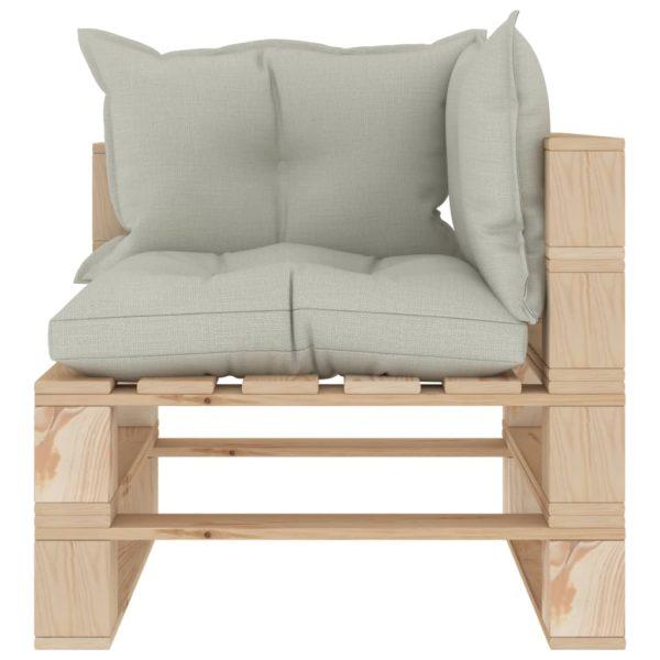 Garten-Palettensofa 3-Sitzer mit Beigen Kissen Holz