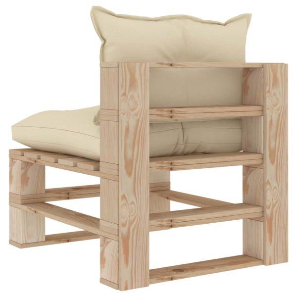 Garten-Paletten-Mittelsofa mit Creme-Kissen Holz