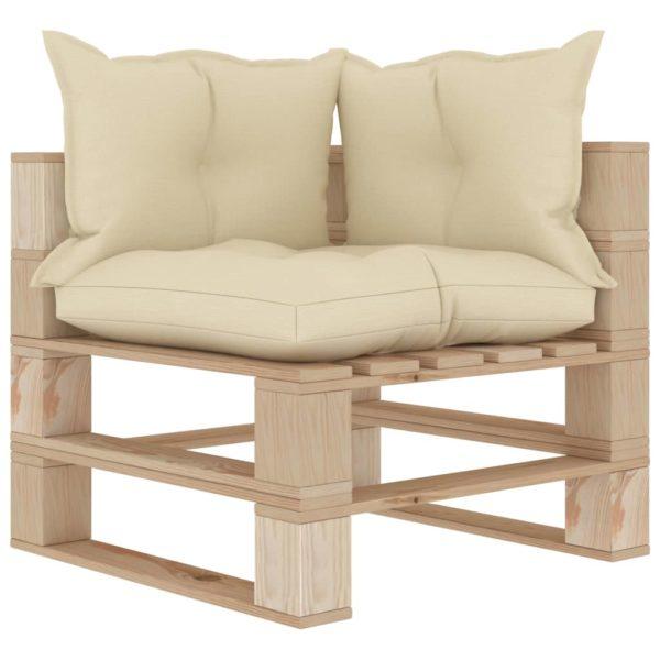 Garten-Palettensofa 3-Sitzer mit Creme-Kissen Holz