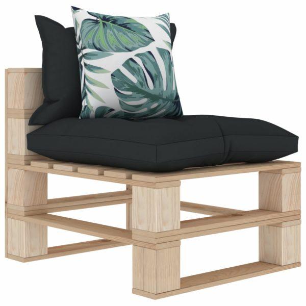 Garten-Palettensofa 3-Sitzer mit Anthrazit- und Blumenkissen Holz