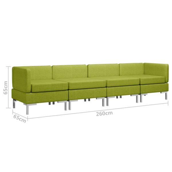 4-tlg. Sofagarnitur Stoff Grün
