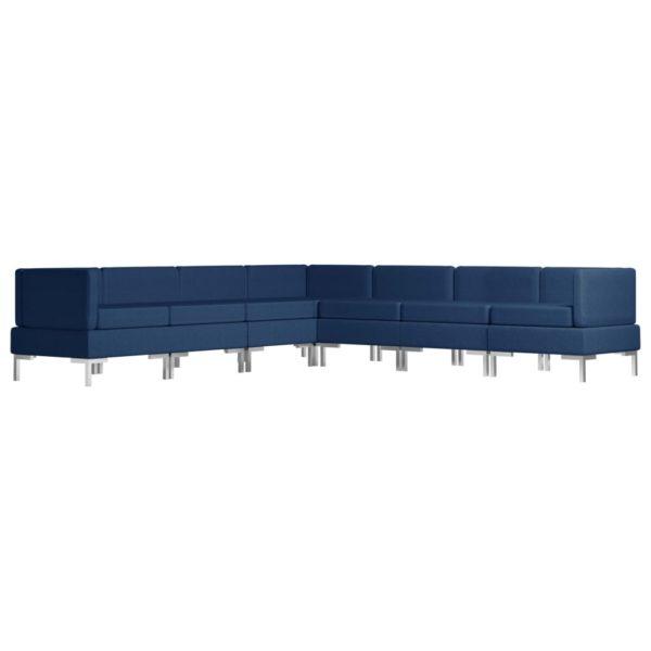 7-tlg. Sofagarnitur Stoff Blau