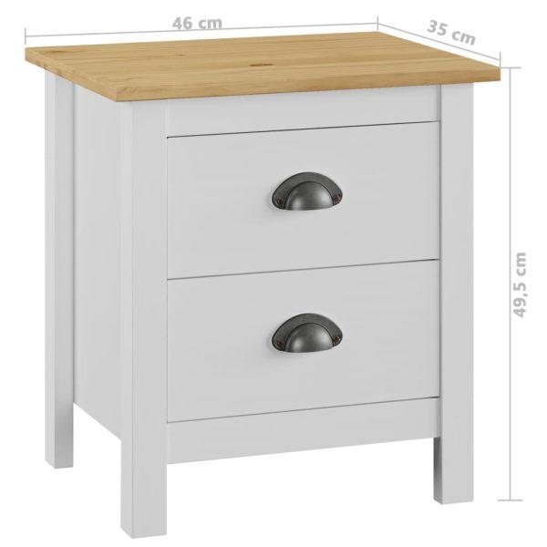 Nachttisch 2 Stk. Weiß 46×35×49,5 cm Massivholz Kiefer