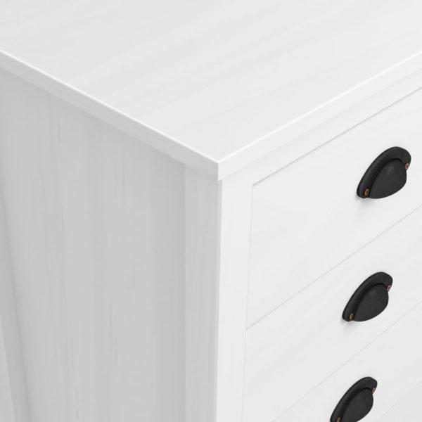 Sideboard Hill Range Weiß 91×40×80cm Kiefer Massivholz