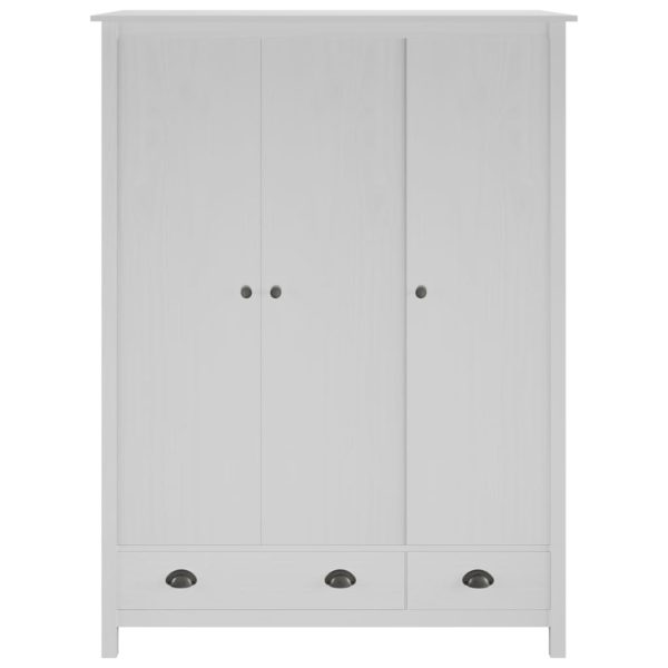 Kleiderschrank mit 3 Türen Hill Range Weiß 127x50x170 cm Kiefer