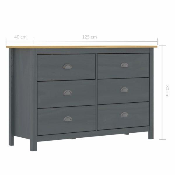 Sideboard Hill Range Grau 125x40x80 cm Massivholz Kiefer