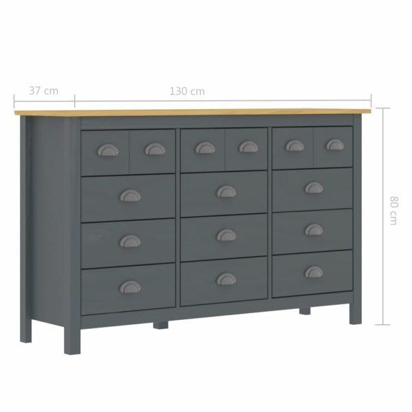 Sideboard Hill Range Grau 130x37x80 cm Massivholz Kiefer