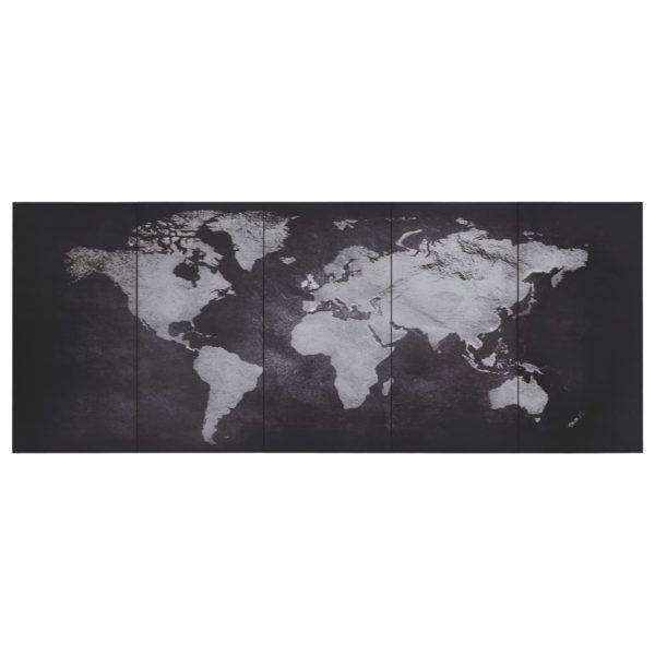 Leinwandbild-Set Weltkarte Schwarz 200 x 80 cm
