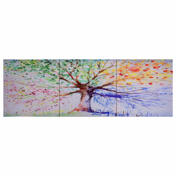 Leinwandbild-Set Baum Mehrfarbig 120 x 40 cm