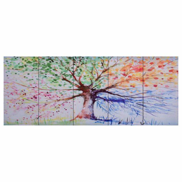 Leinwandbild-Set Baum Mehrfarbig 200 x 80 cm