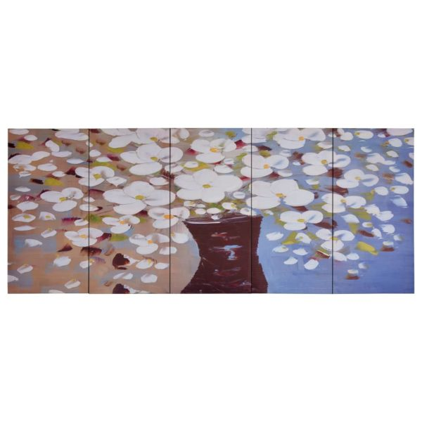 Leinwandbild-Set Blumen in Vase Mehrfarbig 200×80 cm