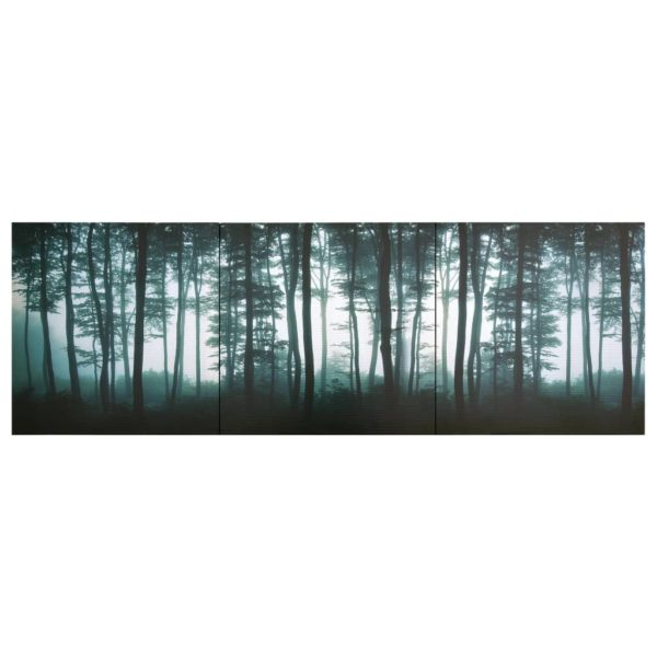 Leinwandbild-Set Bäume Mehrfarbig 120×40 cm