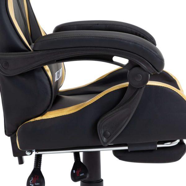 Gaming-Stuhl mit Fußstütze Golden und Schwarz Kunstleder