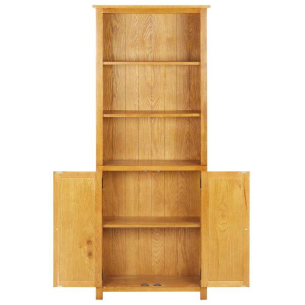 Bücherregal mit 2 Türen 90x30x200 cm Massivholz Eiche