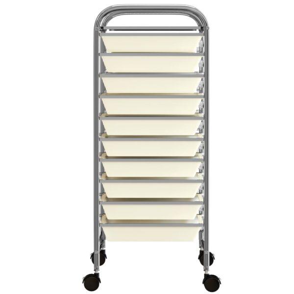 Schubladenwagen mit 10 Schubladen Weiß Kunststoff
