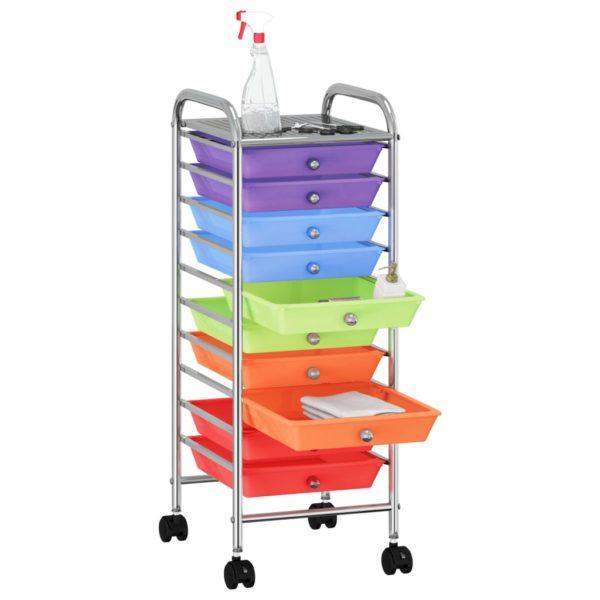 Schubladenwagen mit 10 Schubladen Mehrfarbig Kunststoff