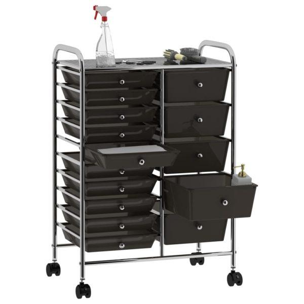 XXL Schubladenwagen mit 15 Schubladen Schwarz Kunststoff