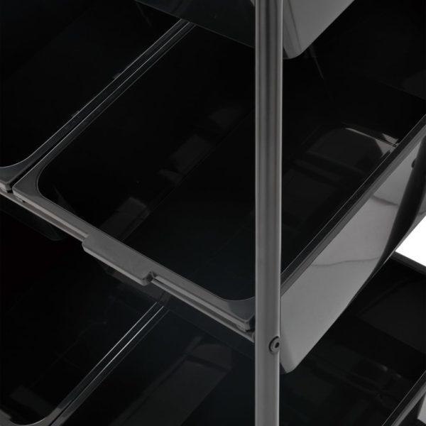 Spielzeug-Aufbewahrungswagen mit 9 Behältern Schwarz Kunststoff