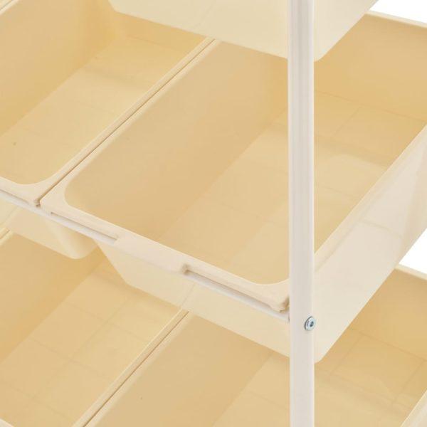 Spielzeug-Aufbewahrungswagen mit 9 Behältern Weiß Kunststoff