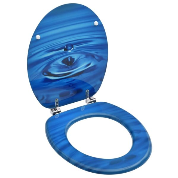 Toilettensitz mit Deckel MDF Blau Wassertropfen-Design