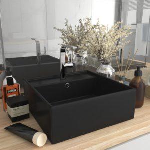 Luxus-Waschbecken Überlauf Quadratisch Matt Schwarz 41×41 cm
