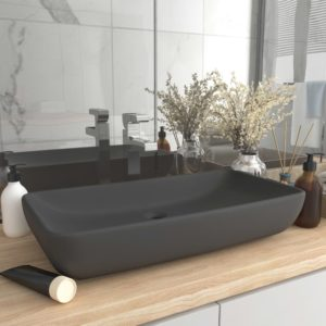 Luxus-Waschbecken Rechteckig Matt Dunkelgrau 71×38 cm Keramik