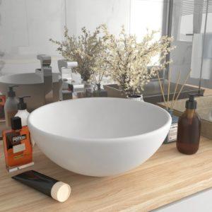 Luxus-Waschbecken Rund Matt Weiß 32,5×14 cm Keramik