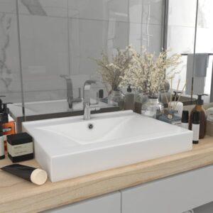 Luxuriöses Waschbecken mit Hahnloch Matt-Weiß 60×46 cm Keramik