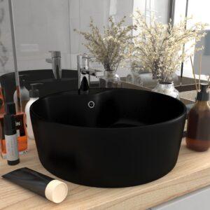 Luxus-Waschbecken mit Überlauf Matt-Schwarz 36×13 cm Keramik