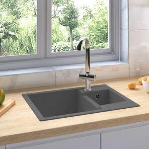 Küchenspüle mit Überlauf Doppelbecken Grau Granit