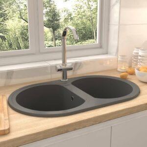 Küchenspüle Doppelbecken Oval Grau Granit