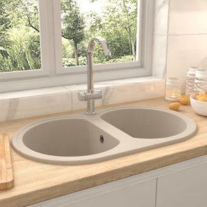 Küchenspüle Doppelbecken Oval Beige Granit
