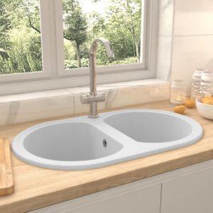 Küchenspüle Doppelbecken Oval Weiß Granit