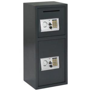 Digitaler Tresor mit Doppeltür Dunkelgrau 35x31x80 cm