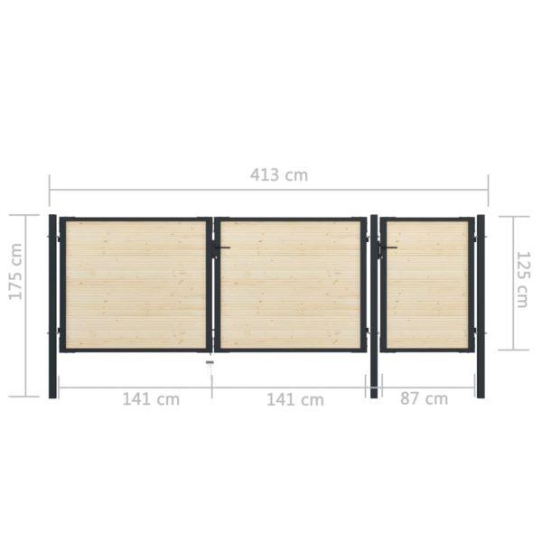 Zauntor Stahl und Fichtenholz 413×175 cm
