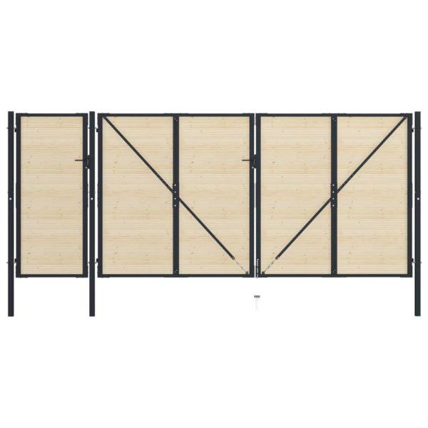 Zauntor Stahl und Fichtenholz 513×250 cm