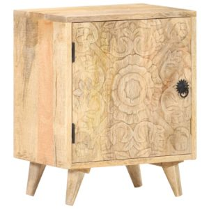 Nachttisch Geschnitzt 40x30x50 cm Mango Massivholz