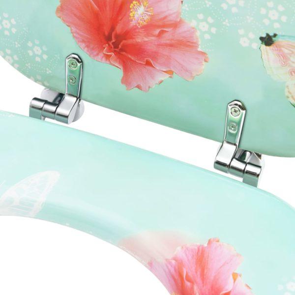 Toilettensitze mit Deckel 2 Stk. MDF Flamingo-Design