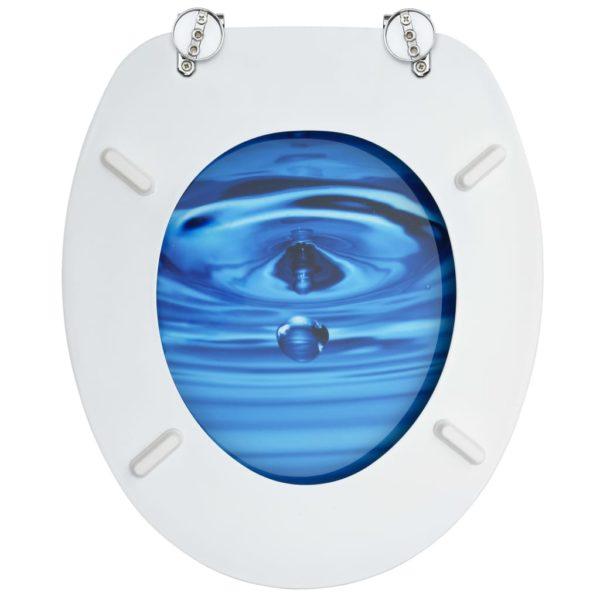 Toilettensitze mit Deckel 2 Stk. MDF Blau Wassertropfen-Design