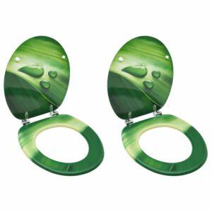 Toilettensitze mit Deckel 2 Stk. MDF Grün Wassertropfen-Design