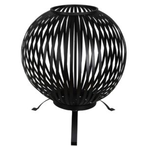 Esschert Design Feuerkorb Ball Gestreift Schwarz Kohlenstoffstahl FF400