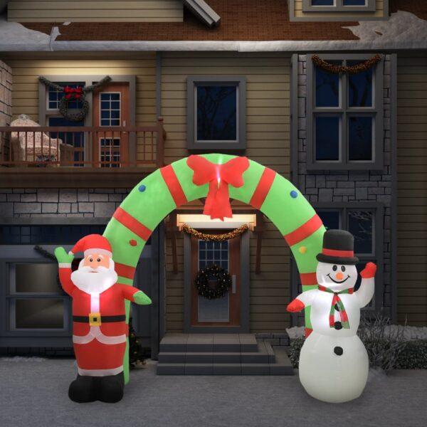 Aufblasbarer Weihnachtsmann und Schneemann Deko Bogen LED 280cm