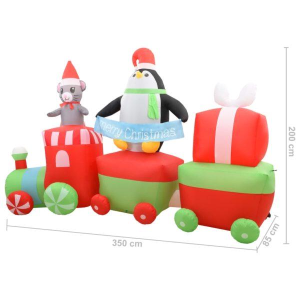 Aufblasbarer Pinguin und Maus im Zug Weihnachten LED IP44 350cm