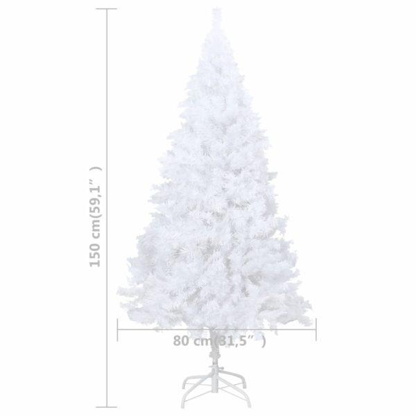 Künstlicher Weihnachtsbaum mit Dicken Zweigen Weiß 150 cm PVC