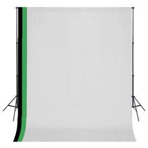 Fotostudio Set 3 Baumwolle-Hintergründe Rahmen verstellbar 3x3m