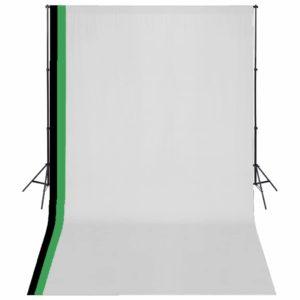 Fotostudio Set 3 Baumwolle-Hintergründe Rahmen verstellbar 3x5m
